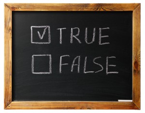 true Or false on black chalk board